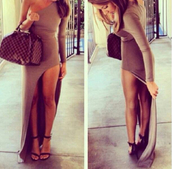 maxi dress,slit dress,fashion,style,classy,sexy,sexy dress,high heels,platform shoes,platform high heels,heels,black,black heels,sandals,bodycon dress,denim,louis vuitton,bag,party dress,party,summer outfits,summer dress,winter outfits