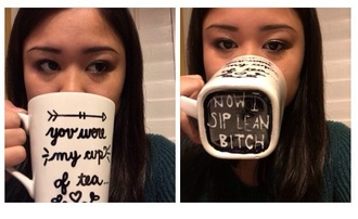 home accessory white black mug dope cool accessories coffee cup black and white sip lean bitch quote on it mug coffeee mug