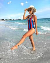 swimwear,tumblr,one piece swimsuit,stripes,sunglasses,aviator sunglasses,felt hat,hat,summer,holidays