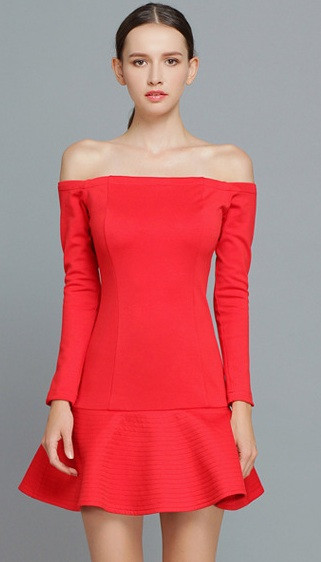 Koma Bare Shoulders Crepe Dress – Glamzelle