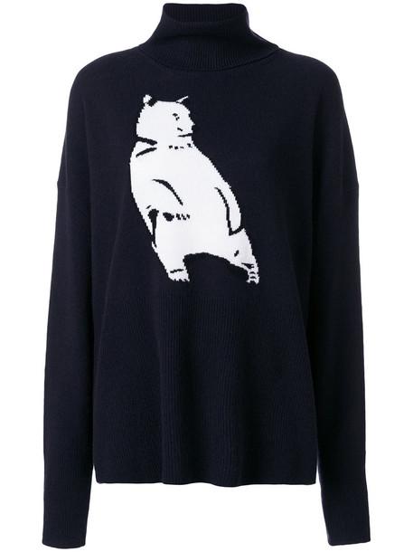 Markus Lupfer sweater bear women blue wool