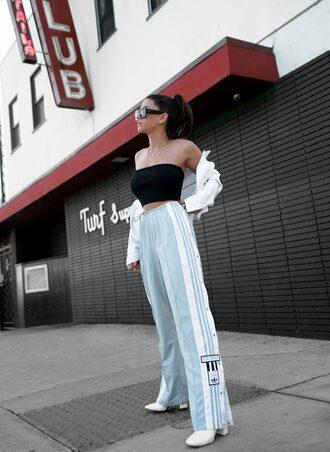 pants white shoes heels black top top crop tops jacket white jacket sunglasses
