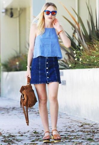 skirt blue top denim skirt brown backpack brown sandals sunglasses blogger