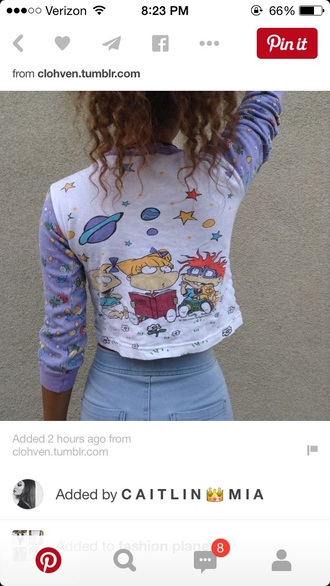 top vintage 90s style 90's kid rugrats crop tops grunge top