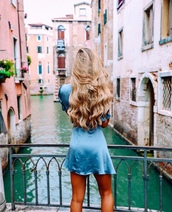 dress,tumblr,satin,satin dress,blue dress,mini dress,short sleeve,short sleeve dress,hairstyles,curly hair,long hair,blonde hair,wavy hair,light blue,weekend escape