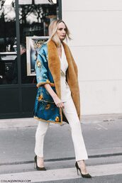 coat,tumblr,blue coat,floral coat,fur collar coat,pants,white pants,pumps,pointed toe pumps,high heel pumps,black heels,streetstyle,blazer,white blazer