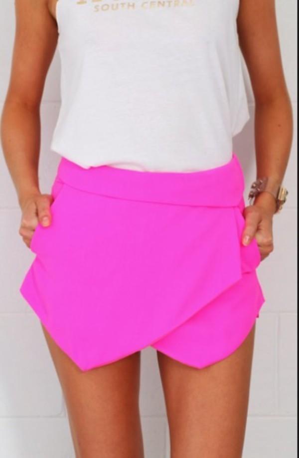 skirt skorts shorts neon pink cardigan