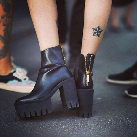 90's shoes grunge tattoo punk grunge shoes 70's black high heels black boots