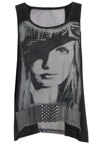 Ladies Amari Face Print Hanky Top in Black | Pop Couture