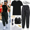 Kylie jenner: black t-shirt, striped pants | steal her style