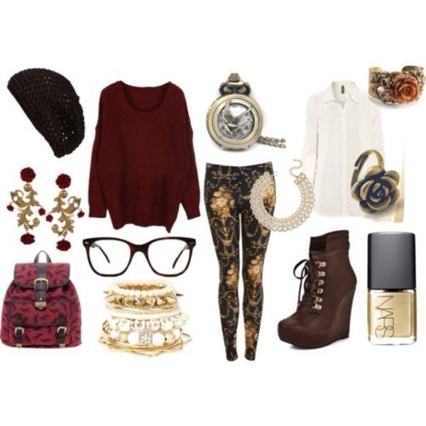 jeans shoes bag blouse jewels sweater hat