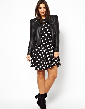 Alice & You | Alice & You Black Heart Print Skater Dress at ASOS
