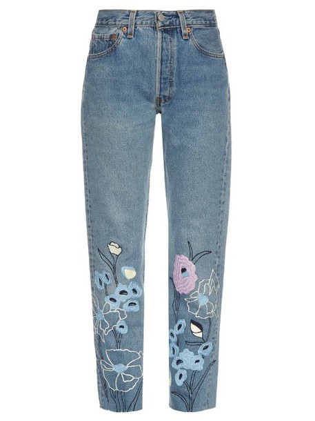 jeans cropped jeans embroidered cropped denim