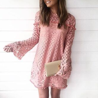 dress long sleeve lace dress lace dress mini dress pink dress long sleeves bell sleeves summer dress clutch ysl ysl bag bell sleeve dress