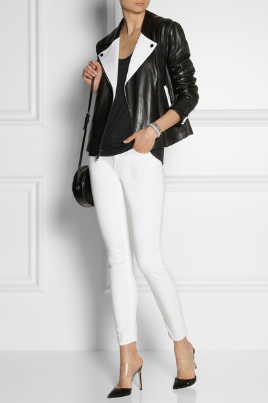DKNY | Convertible leather and stretch-tech jersey biker jacket | NET-A-PORTER.COM