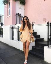 dress,wrap dress,shoes,sandals,sunglasses