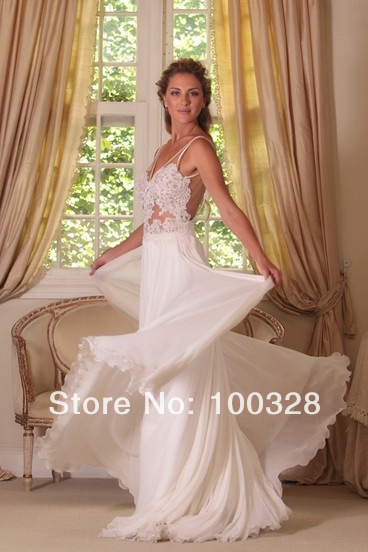 Aliexpress.com : buy 2014 new design sexy v neck with appliques a line floor length court train sleeveless backless chiffon long evening dress from reliable design wedge suppliers on rose wedding dress co., ltd