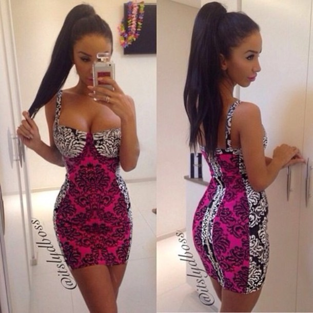Dress Bodycon Bodycon Dress Pink Patterned Dress Mini