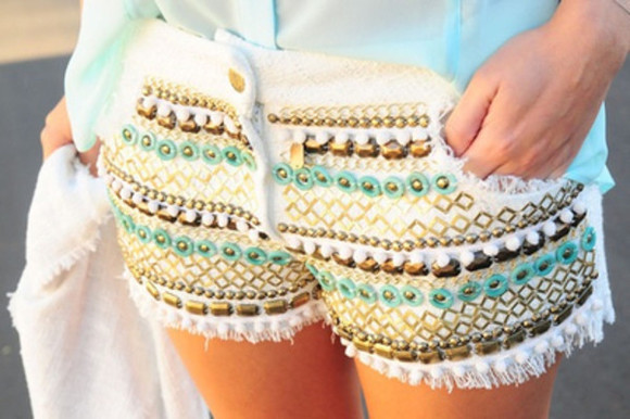 shorts white summer outfits rivets jeans studded shorts jems blue jewels leather brown sandals baby blue denim tribal pattern beaded white shorts short green gold heaven cute love studs details print blo pattern lightblue golden pants cute shorts skirt cut off shorts cut offs aztec colourful shorts tribal pattern boho patterns shorts colorful patterns shoes