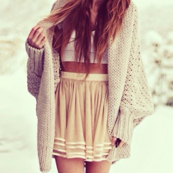 skirt short skirt stripes ivory creme fluffy fluffy sweater sweater oversized cardigan cardigan