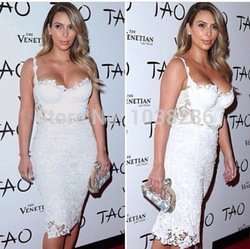 Online Shop HL 2Pcs Top&Skirt Sets kim kardashian white LACE bandage dress Spaghetti Strap Party club dress|Aliexpress Mobile