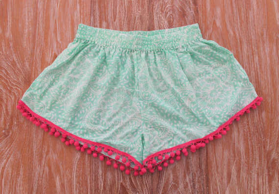 Pom Pom Shorts  Mint Green Pattern with Large Hot by ljcdesignss