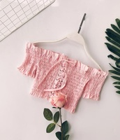 blouse,girly,girl,girly wishlist,pink,off the shoulder,off the shoulder top,crop tops,cropped,crop,lace,lace up,cute