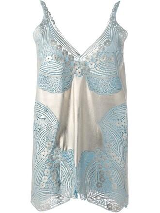 top women blue silk