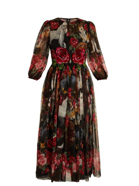 Dolce & Gabbana dress chiffon dress chiffon rose print silk black