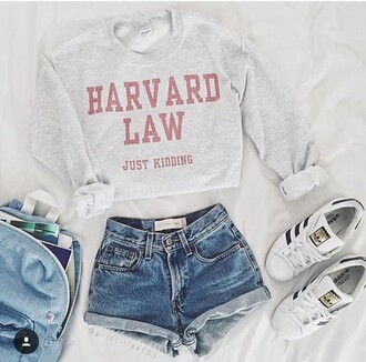 shorts sweater white cropped harvard graphic tee harvard long sleeve long sleeves red college just kidding jk gloves skirt sweatshirt clothes
