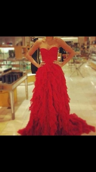 dress red red dress prom dress strapless dress feathering bottom red prom dress red prom dresses