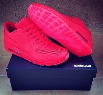 shoes red sneakers trainers nike custom swag style trendy cute air max air max 90 red octobers air max 90 hyperfuse