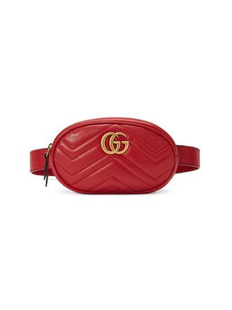 belt bag metal women bag leather red