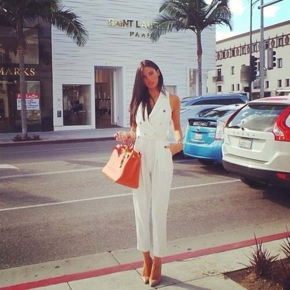 bag orange bag romper jumpsuit white jumpsuit white playsuit high heels pants