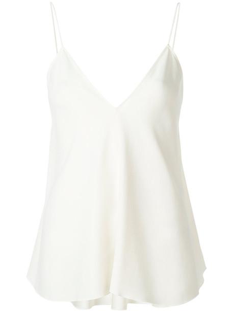 tank top top women spandex draped white