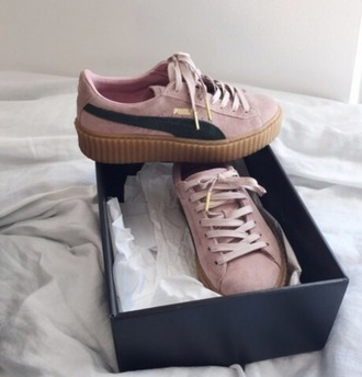 shoes girl girly girly wishlist puma puma sneakers puma x rihanna rihanna pumas pink gum bottom creepers puma creepers tumblr puma creepers rihana