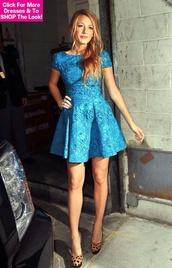blake lively,dress,blue dress,shoes,high heels,leopard print,leopard print high heels,pumps,day,royal,blue,royal blue,cute,heels,blonde hair,girl,love,brunch dress,morning dress,aqua dress,aqua,long sleeves