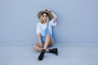 views of now blogger hat short overalls white top