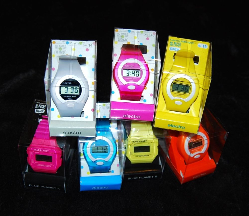 Blue Planet B Electro Digital Pink Yellow Orange White Blue Watch Fun US Seller | eBay