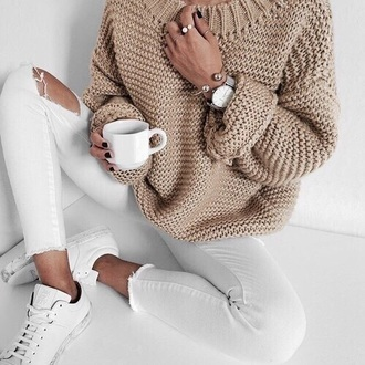 jeans outfit tumblr outfit sweater long sleeves knit knitted sweater knitwear ripped jeans ripped skinny jeans white white jeans adidas adidas shoes adidas superstars adidas originals
