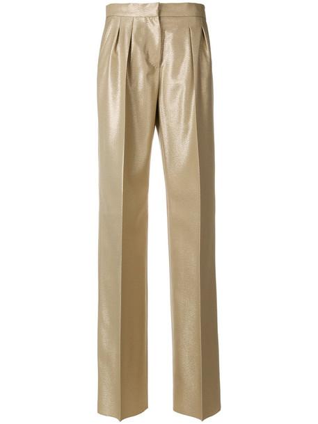 Max Mara metallic women nude wool pants