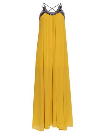 dress cross pleated back silk yellow