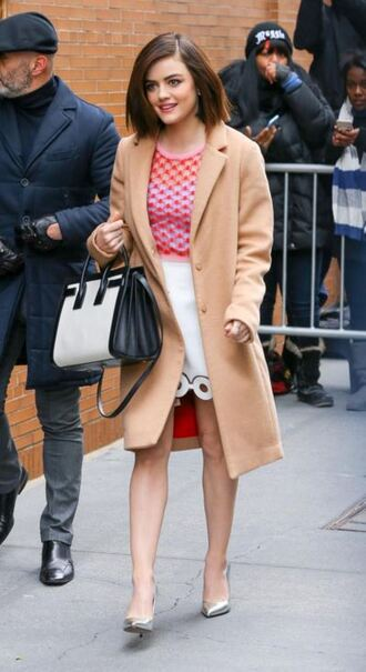 skirt top coat fall outfits pumps lucy hale blouse eyelet skirt eyelet detail mini skirt white skirt camel coat black and white bag silver shoes high heel pumps celebrity style celebrity