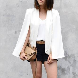 jacket tumblr cape white jacket top cape blazer blazer white blazer white top shorts black shorts belt bag brown bag