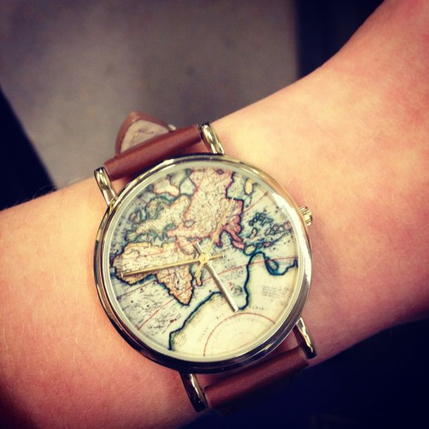 Jewels watch world map leather wheretoget jewels watch world map leather gumiabroncs Gallery