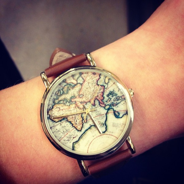 jewels watch world map leather