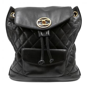 Chanel: Authentic  Chanel Vintage Black Quilted Leather Backpack | MALLERIES