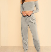 jumpsuit,girl,girly,girly wishlist,grey,two-piece,matching set,crop tops,cropped,crop,off the shoulder,off the shoulder top,ruffle,ruffled top,bardot,bandeau,long sleeves,long sleeve crop top,bandeau top,joggers,joggers pants,joggers.