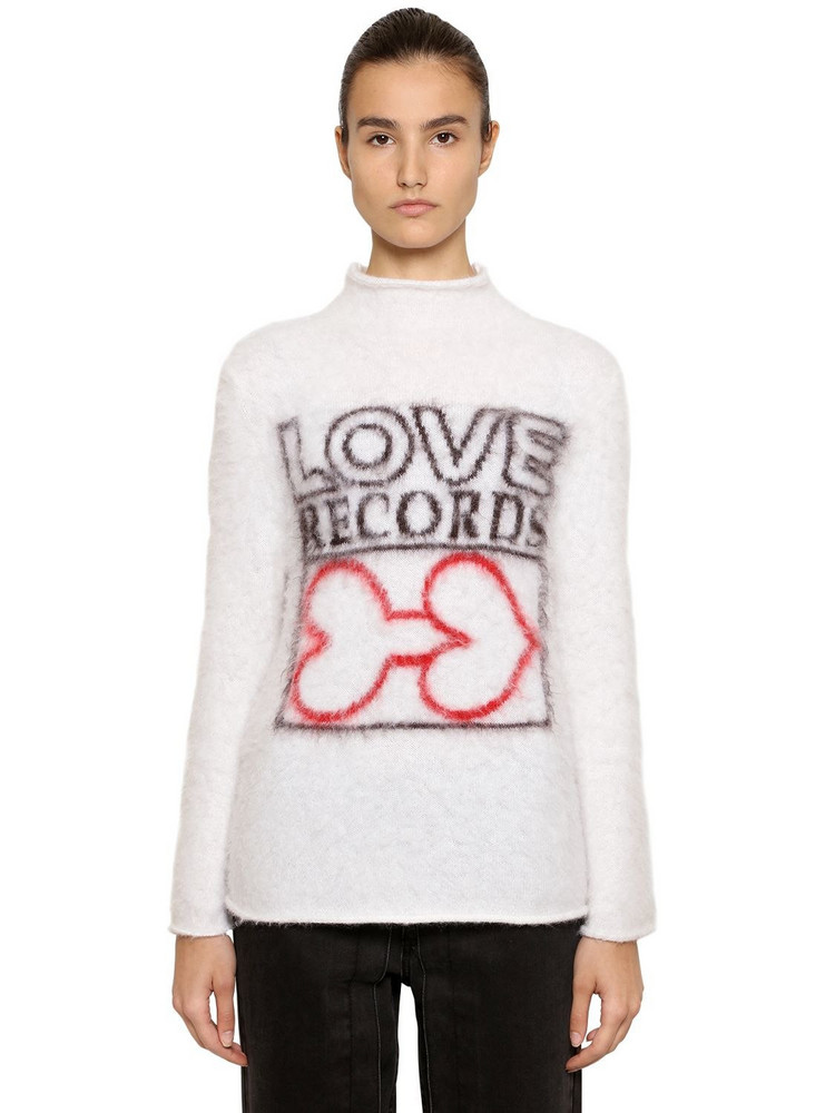 AALTO Love Intarsia Mohair Blend Sweater in ivory