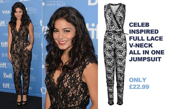 jumpsuit romper black lace spring outfit smart casual onesie vanessa hudgens lace dress floral floral dress celebrity style all in one v neck trendy red carpet photocall